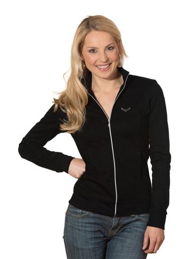 Damen Jacke veredelt mit Swarovski® Kristallen Größe: L Material: 95 % Baumwolle, Ringgarn supergekämmt, 5 % Elastan Farbe: schwarz