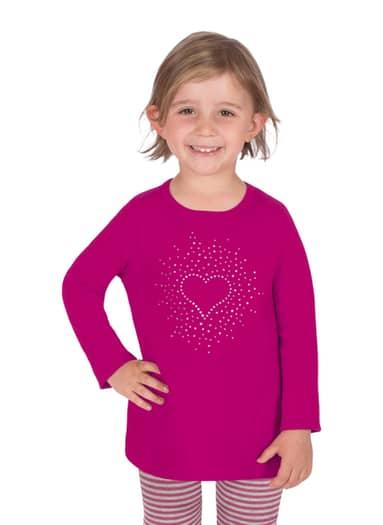 Mädchen Langarmshirt mit Herz Größe: 104 Material: 95 % Baumwolle, Ringgarn supergekämmt, 5 % Elastan Farbe: magenta