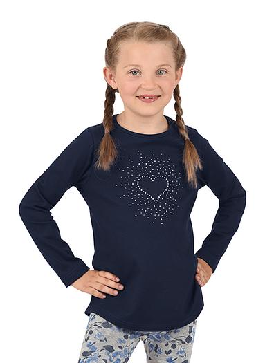 Mädchen Langarmshirt mit Herz Größe: 104 Material: 95 % Baumwolle, Ringgarn supergekämmt, 5 % Elastan Farbe: navy