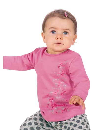Baby Langarmshirt mit Herzen Größe: 68 Material: 47 % Baumwolle, 47 % Polyester, 6 % Elastan Farbe: rosenholz