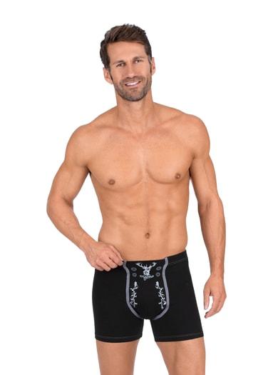 Herren Pants mit Hirsch Größe: L Material: 95 % Baumwolle, Ringgarn supergekämmt, 5 % Elastan Farbe: schwarz