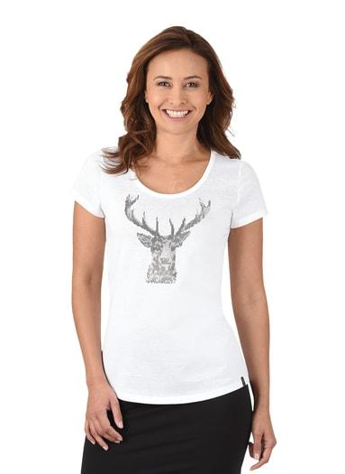 Damen T-Shirt Glitzer-Hirsch Größe: L Material: 100 % Baumwolle, Ringgarn supergekämmt Farbe: weiss