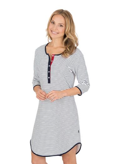 Damen Nachthemd mit Knopfleiste Größe: L Material: 100 % Baumwolle, Ringgarn supergekämmt Farbe: navy