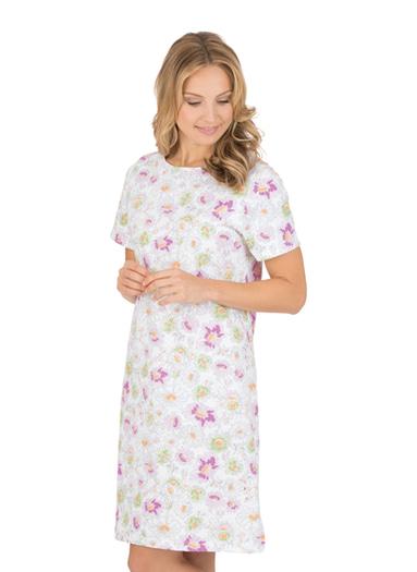 Damen Nachthemd Blumenwiese Größe: M Material: 100 % Baumwolle, Ringgarn supergekämmt Farbe: weiss