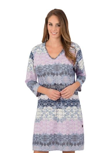 Damen Nachthemd mit 3/4 Ärmel Größe: XXXL Material: 100 % Baumwolle, Ringgarn supergekämmt Farbe: cool-grey