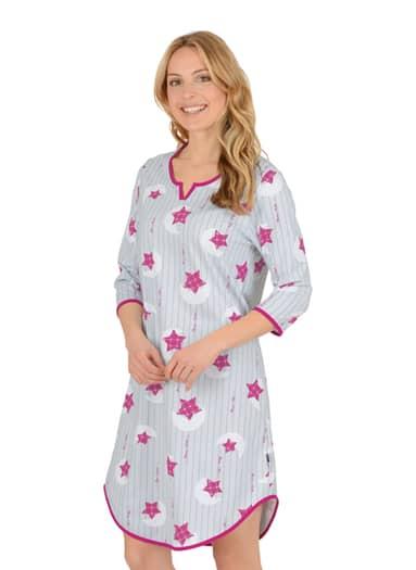 Damen 3/4 Arm Nachthemd mit Sternen Größe: M Material: Farbe: cool-grey