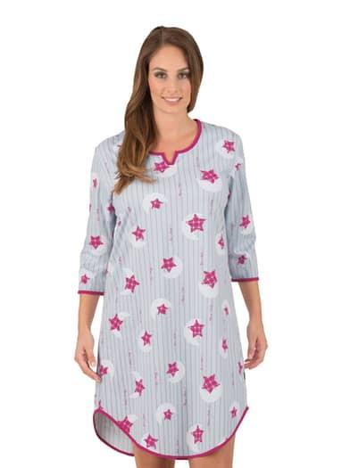 Damen 3/4 Arm Nachthemd mit Sternen Größe: XXL Material: Farbe: cool-grey