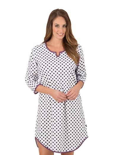 Damen 3/4 Arm Nachthemd mit Sternchen Größe: XXL Material: Farbe: weiss