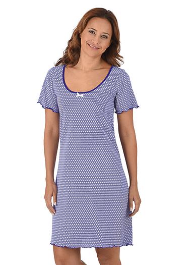 Damen Kurzes Nachthemd Größe: L Material: 100 % Baumwolle, Ringgarn supergekämmt Farbe: enzian