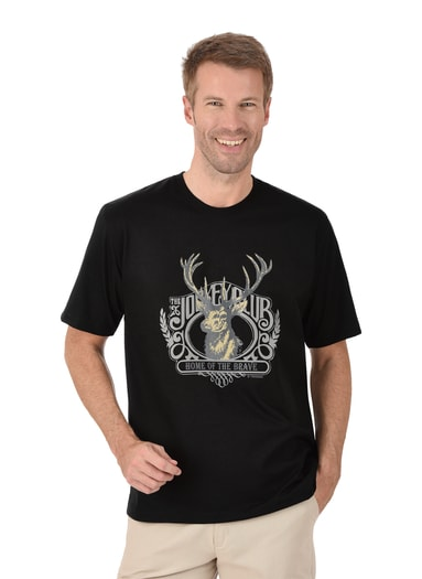 Herren T-Shirt mit Hirsch Größe: XL Material: 100 % Baumwolle, Ringgarn supergekämmt Farbe: schwarz