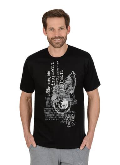Herren T-Shirt mit Wolf Größe: L Material: 100 % Baumwolle, Ringgarn supergekämmt Farbe: schwarz