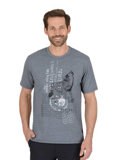 Herren T-Shirt mit Wolf Größe: L Material: 100 % Baumwolle, Ringgarn supergekämmt Farbe: steingrau-melange