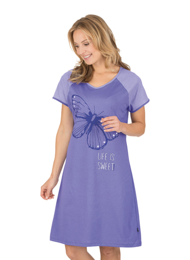 Damen Nachthemd mit Schmetterling Größe: XL Material: 100 % Baumwolle, Ringgarn supergekämmt Farbe: lilie