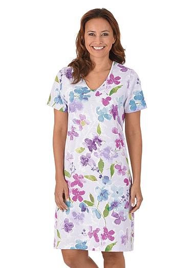 Damen Nachthemd Blumen Größe: L Material: 100 % Baumwolle, Ringgarn supergekämmt Farbe: lilie