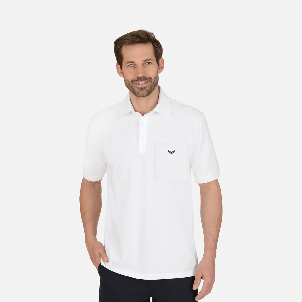 Business polo shirt with chest pocket white l trigema for Men s polo shirts with chest pocket