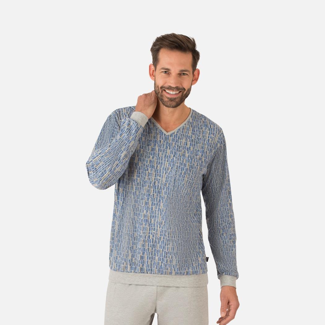 00d557952c0a5b Langarm Schlafshirt mit grafischem Muster grau-melange | L | TRIGEMA