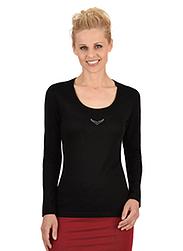Trigema Damen Langarm-Shirt mit Swarovski® Kristallen Schwarz