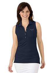 Trigema Women Polo-Shirt Sleeveless with Swarovski® crystals