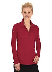 Trigema Damen Langarm Polo-Shirts mit Swarovski® Kristallen Rubin