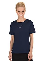 Trigema Damen T-Shirt DELUXE Baumwolle mit Swarovski® Kristallen Navy