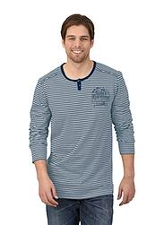 Trigema Herren Langarm-Shirt mit Knopfleiste