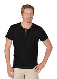 Trigema Herren T-Shirt Knopfleiste Biobaumwolle Schwarz-C2C