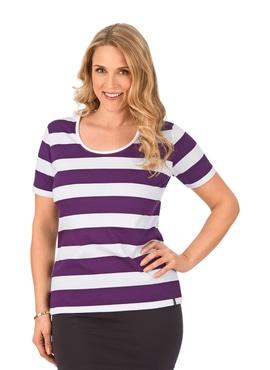 f41327953a92bf Geringeltes T-Shirt mit Knopfleiste brombeer ...
