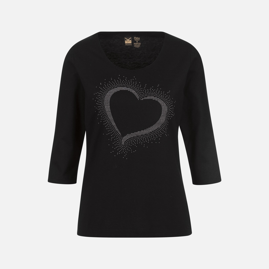 c4344d18996170 3 4 Sleeve Shirt with Glitter Heart black